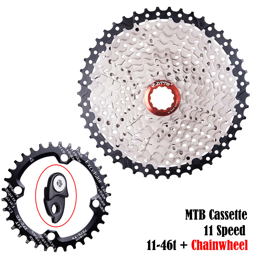 ZTTO MTB <font><b>11</b></font> Speed Cassette Wide Ratio <font><b>11</b></font>-<font><b>46t</b></font> Bicycle Freewheel Sprockets Compatible for SH HG System Bike Chainwheel 32t 34t 36t image