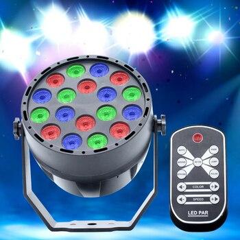 Светодиодный Par огни 1Wx18 DJ оборудование сценический Контроллер освещения DMX Эффект RGB Звук Активированный для дискотеки вечерние KTV бар свад...