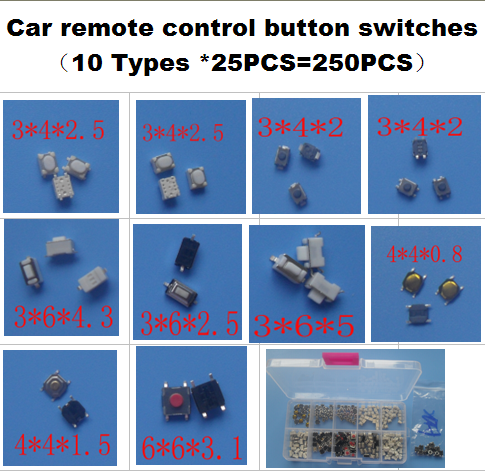 10 Types * 25PCS Tactile Push Button Switch Micro Switch Car Remote Control Button Switches For Honda Hyunda VW Peugeot Toyota