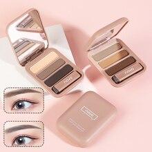Портативная 3-цветная пудра для бровей с кисточкой для бровей и встроенным маленьким зеркалом, водостойкая, не снимает пот, макияж TSLM1