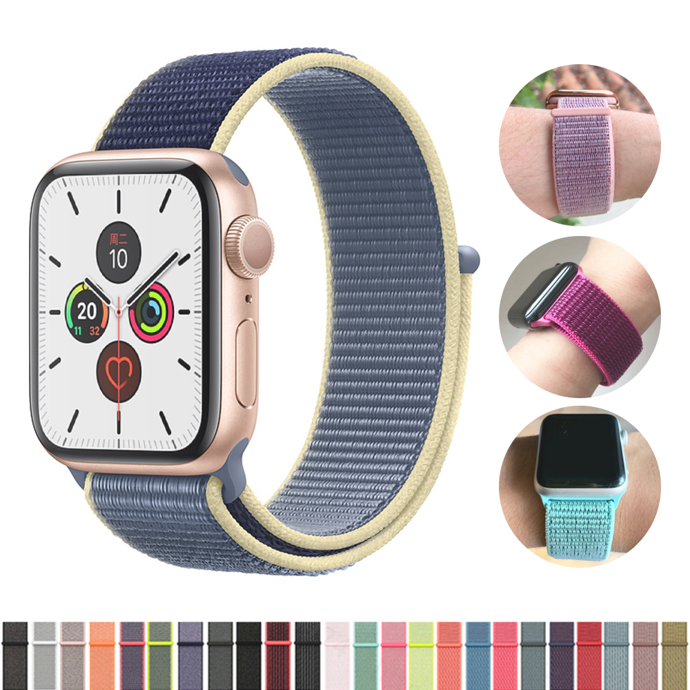 Band For Apple Watch Series 5/4/3/2/1 38MM 42MM Nylon Soft Breathable Replacement Strap Sport Loop For Iwatch Bracelet 40MM 44MM