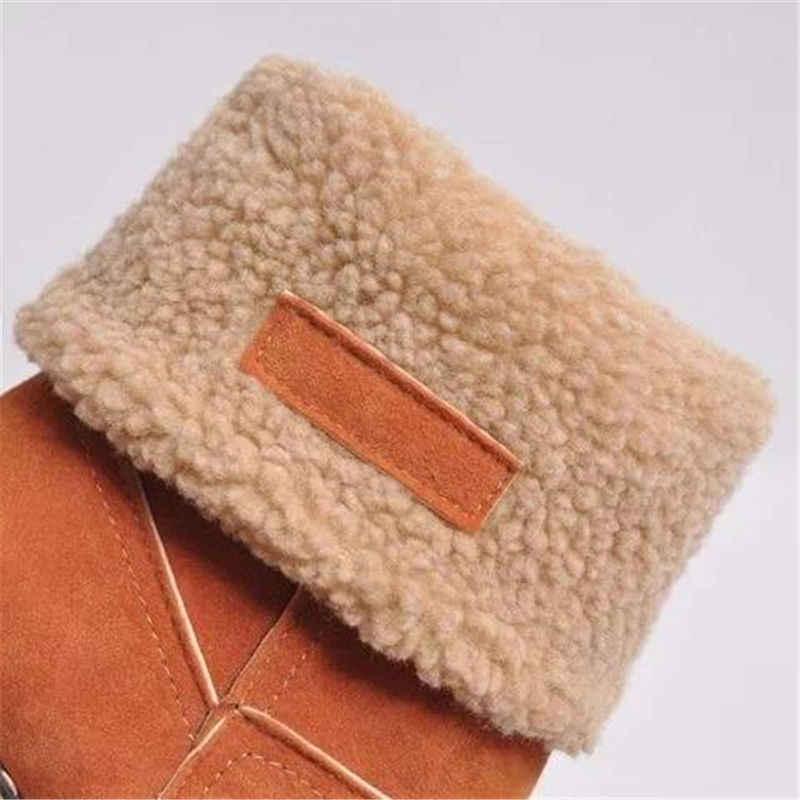 Vrouwen Winter Bont Warme Snowboots Dames Warme wollen booties Enkellaars Comfortabele Schoenen plus size 35-43 Casual vrouwen Mid Laarzen