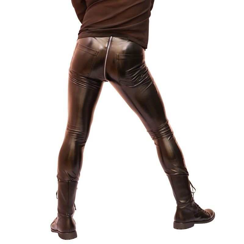Sexy High Elastic Skinny PVC Faux Leather Mens Night Clubwear Pants Punk Zipper Low Wasit Motorcycle Spring Thin Pencil Pants