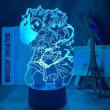 Gon e killua 3d night light anime hunter x hunter nightlight para o miúdo decoração do quarto iluminação presente da criança lâmpada de cabeceira anime led