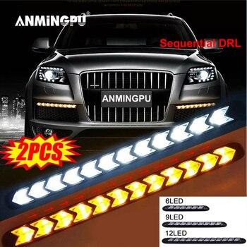 цена на ANMINGPU 1pair Car Universal DRL LED Daytime Running Light Sequential Flow DRL LED Strip Yellow Turn Signal Lamp for Headlights