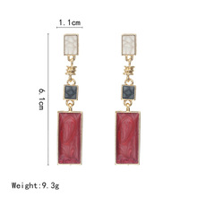 Korean version of small, fresh and fashionable Square Earrings collide with color, size rectangle