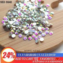 QIAO Glitter Rhinestones Crystal AB SS3 SS40 Non Hot Fix FlatBack Strass Sewing & Fabric Garment Rhinestone Nail Art Stone