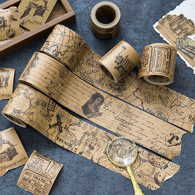 50mm*5m Vitnage Kraft Paper Masking Tape Retro Ticket/Love Poem/Stub/Old Newspapers/Postmark Deco Washi Tape DIY Scrapbooking
