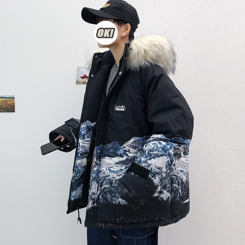 Женская зимняя куртка-пуховик, зимнее плотное пальто, теплая верхняя одежда с съемным меховым капюшоном, Мужское пальто с Горным принтом