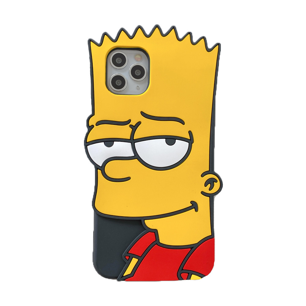 MME Character Case for iPhone 7 8 Plus SE2020 11 Pro Max X XS Max XR Case 3D Cartoon Simpson Soft Silicone Rubber Case