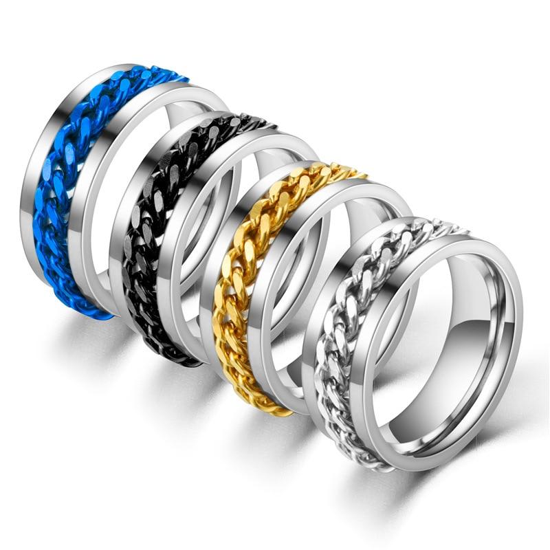 FACEINS Rings For Women and Men Rotatable Bottle Opener Ring Stainless Steel Chain Ring Men's Titanium Steel Wine Bottle Ring
