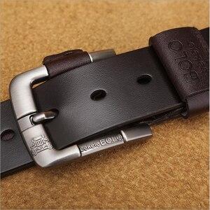 Image 2 - جديد حزام للرجل مصنع جلد طبيعي جلد البقر جلد البقر الرجال عارضة دبوس مشبك نوعية جيدة الذكور حزام ل الجينز الدنيم Vintage