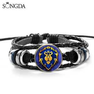Hot Game World Of Warcraft Armband Fashion Wow Union Embleem Leeuw Shield Gedrukt Glas Charm Lederen Armband Voor Mannen Boy(China)