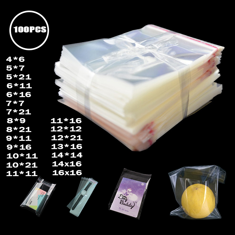100pcs/lot Thick Clear Self Adhesive Cellophane Packing Bags Small Self Sealing Plastic Package Storage Bag Resealable Poly Bag