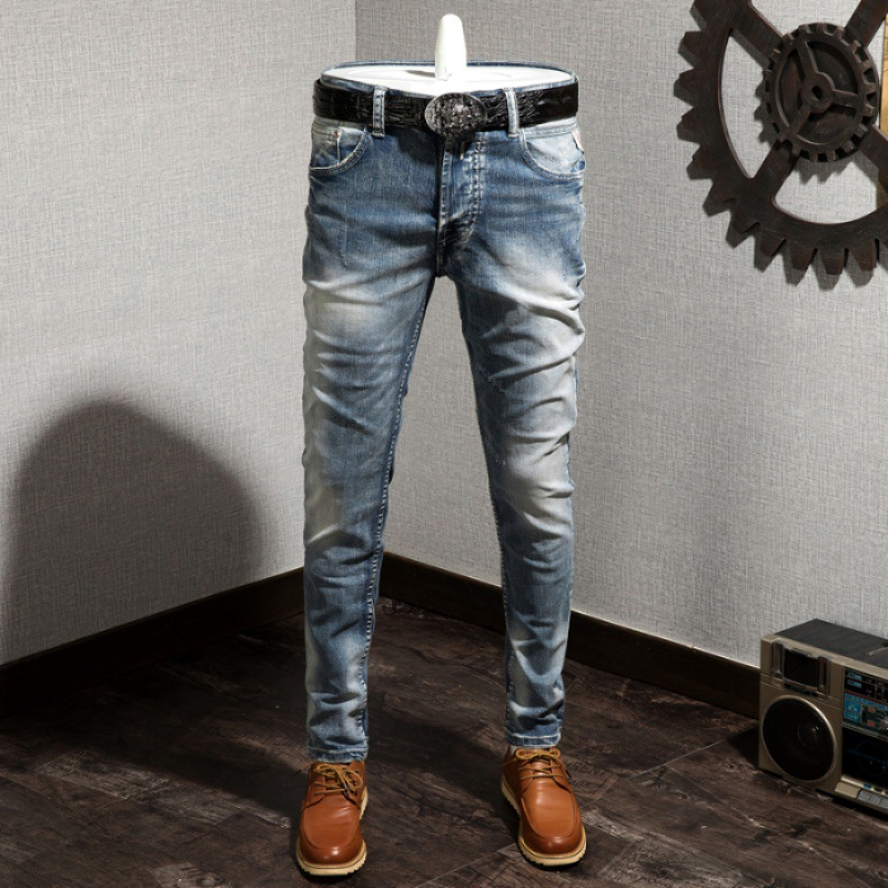 Vintage Jeans Men's Faded Washing Slim Fit Pants Popular Brand Trousers Elasticity Youth [A2 Building 1102 Speed Cattle