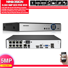 NINIVISION 4 8CH H.265 CCTV NVR 48V PoE 4 канала* 5MP/8 каналов* 5MP видеонаблюдения CCTV сетевой видеорегистратор PoE P2P ONVIF 2,0