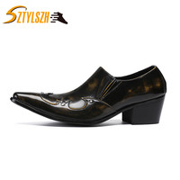 High Heel Men Shoes Pointed Toe Leather Dress Shoes Slip on Classic Retro Bronze Business Formal Shoes Men Business party shoes