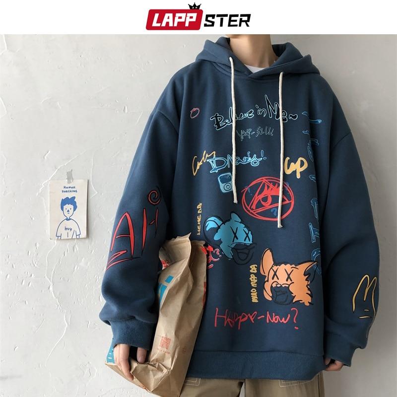 LAPPSTER Men Graffiti Harajuku Sweatshirts 2020 Mens Korean Fashions Streetwear Hooded Hoodie Couple Winter Hip Hop Clothing