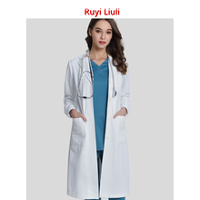 Ruyi Liuli-White Lab Coat For Women Man Button closure Doctor Uniform Hospital Scrubs Out Wear Medical Clothing Surgical Gown