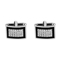 Novelty Luxury Rhinestone Cufflinks for Mens Brand High Quality Crystal Gold Silver Shirt Cuff Links