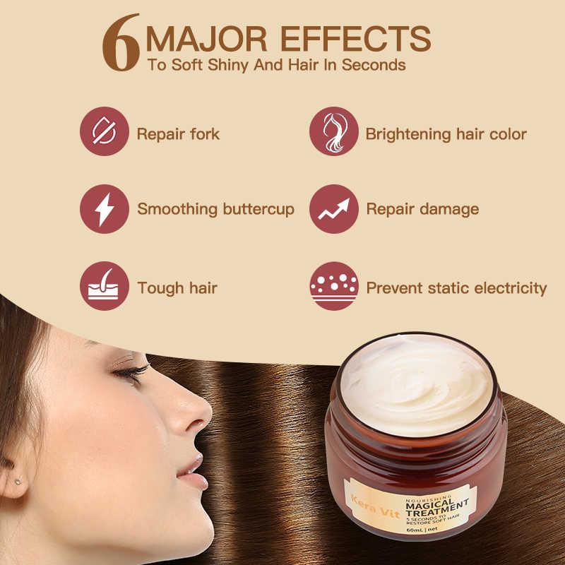 มาสก์ซ่อมแซมผมสำหรับผมเสีย Care Magical Treatment วิตามินหน้ากาก hair FILLER Keratin ครีมน้ำมันหอมระเหยขนาด 60ML