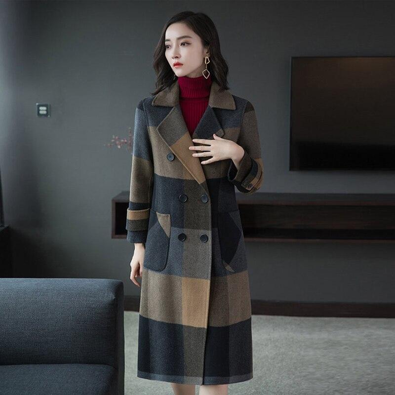 2019 printemps et hiver nouveau manteau de vêtements pour femmes de qualité supérieure Double face manteau en cachemire femme treillis veste en laine
