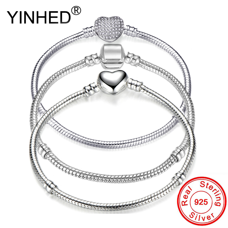 YINHED Hot Sale 3 Style <font><b>Pan</b></font> <font><b>Bracelet</b></font> Women Original 925 Sterling Silver Snake Chain Bangle <font><b>Bracelet</b></font> DIY Jewelry Fit Beads ZB041 image