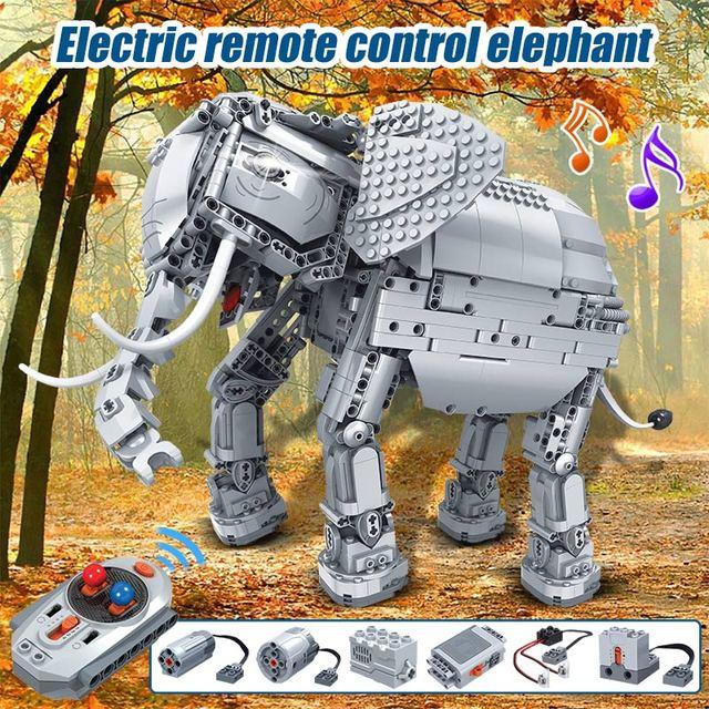1542pcs Creator Remote Control Machinery Building Blocks Technic RC Elephant Animal Electric Bricks Toys for Children