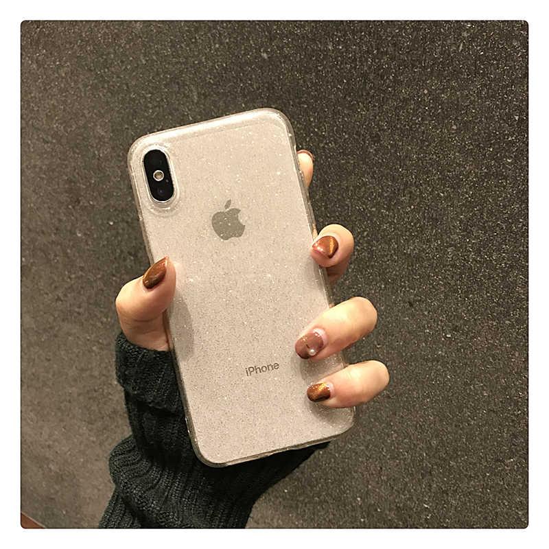 הניצוץ גליטר אבקה שחור טלפון מקרה עבור iPhone 11 פרו XR XS מקסימום 8 7 בתוספת 6S שקוף רך TPU עמיד הלם בלינג חזרה כיסוי
