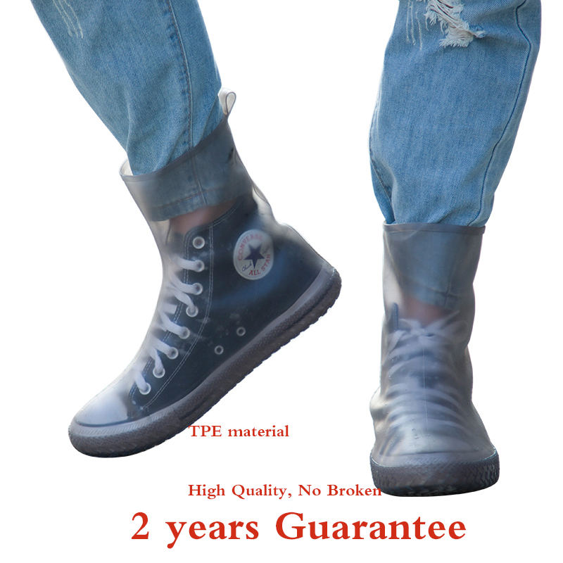 Top Quality Women Man TPE  Integral Mould Waterproof Reusable High Rain Shoe Cover Rain Boot Anti-skid Dustproof Shoes Covers