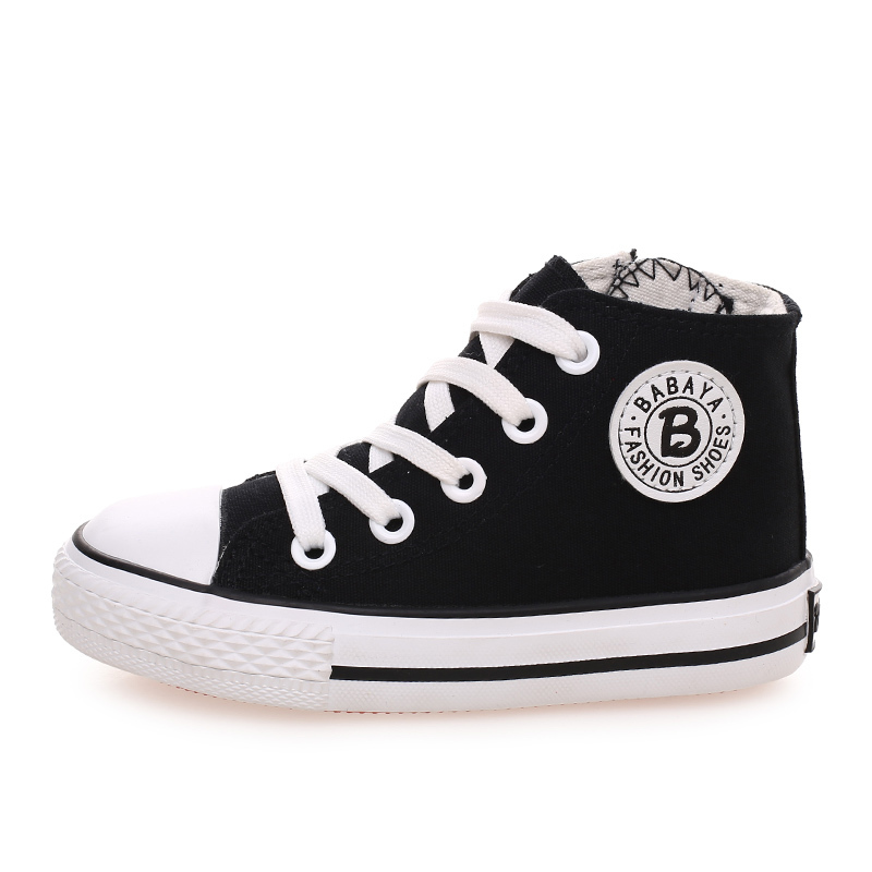 Image 4 - Kids shoes for girl children canvas shoes boys sneakers 2019 Spring autumn girls shoes White High Solid fashion Children shoesshoe boxes for bootsshoe candlesshoe flower -
