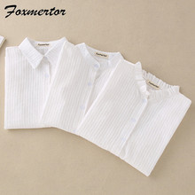 Foxmertor 100% القطن قميص أبيض بلوزة 2018 الربيع الخريف البلوزات قمصان طويلة الأكمام قمم عارضة الصلبة جيب Blusas #06