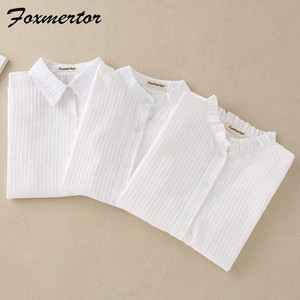 Image 1 - Foxmertor % 100% Pamuklu Gömlek Beyaz Bluz 2018 Ilkbahar Sonbahar Bluz Gömlek Kadınlar Uzun Kollu Casual Tops Katı Cep Blusas #06