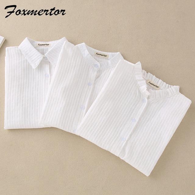 Foxmertor % 100% Pamuklu Gömlek Beyaz Bluz 2018 Ilkbahar Sonbahar Bluz Gömlek Kadınlar Uzun Kollu Casual Tops Katı Cep Blusas #06