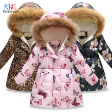 2019 Childrens Winter Jacket Girls Warm Cotton Coat Butterfly Flower Hooded Outerwear Clothes DC149
