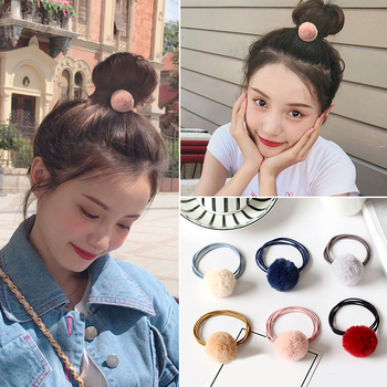 Baby Girl Hair Accessories Fashion Gum Pompon Elastic Hair Bands Ball Pink Scrunchy Children Lovely Kids Rubber Headbands image