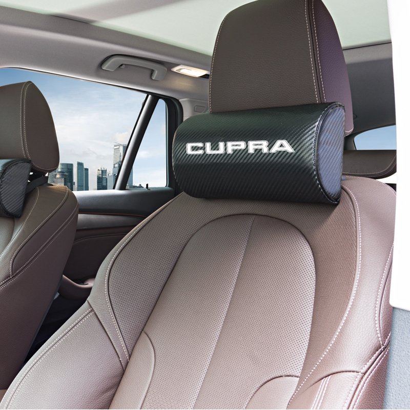 Car Styling Both Side Pu Leather Single Headrest Fit For Seat Leon Ibiza Cupra Altea Belt Racing Car Pillow