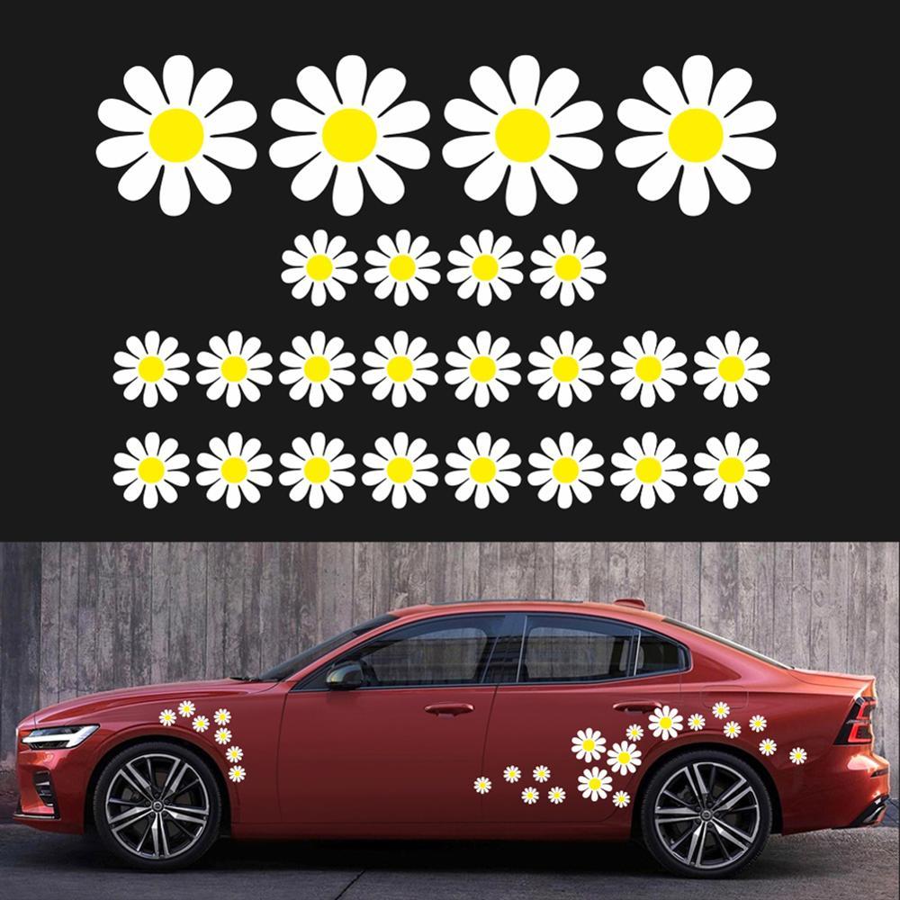 48 Uds Daisy flor coche personalizado pegatinas de PVC práctico hermoso Auto decorativo de estilismo calcomanías venta al por mayor entrega rápida por tráfico