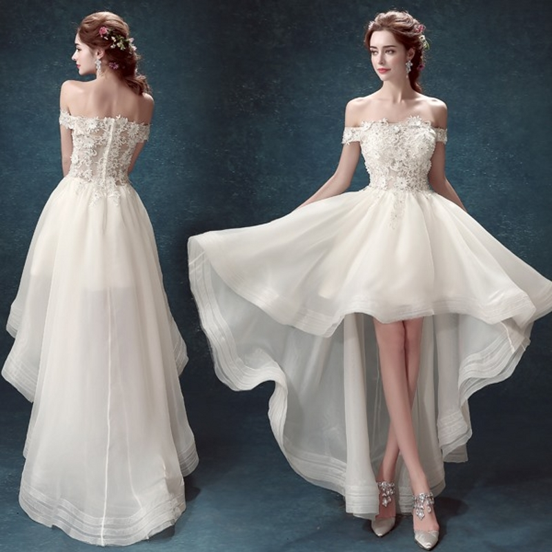 Ivory Boat Neck Short Sleeve Off The Shoulder Appliques Lace Prom Dresses High Low  Long Formal Dress Evening Gowns Vestidos