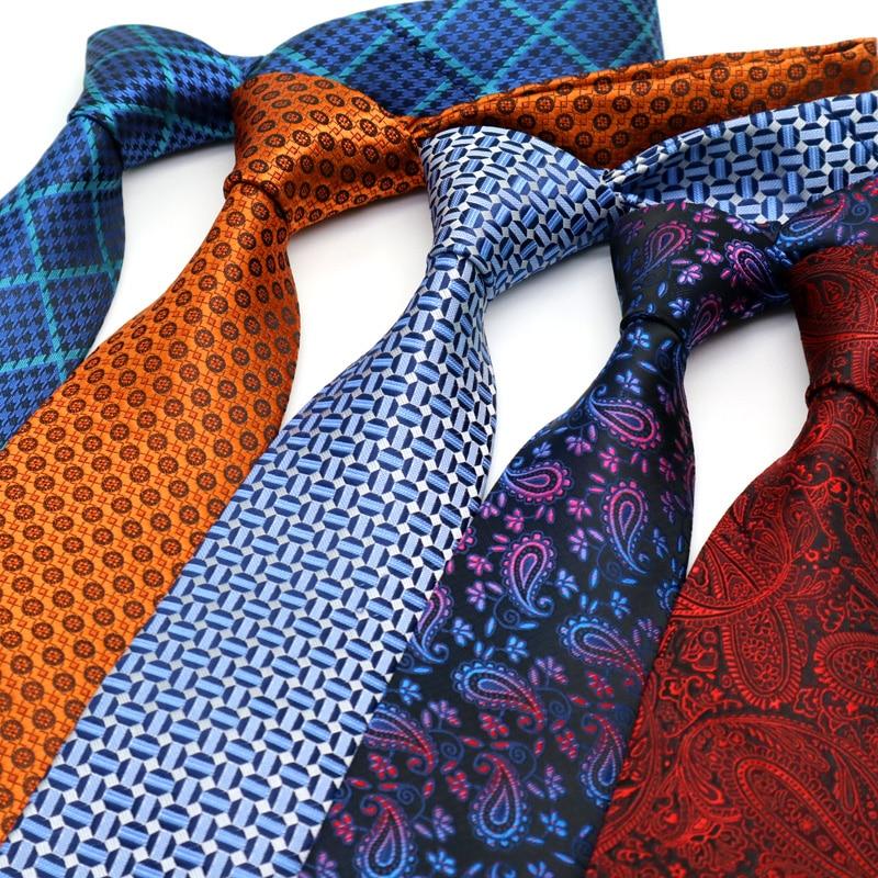 YISHLINE Luxury 8CM  Mens Tie New Designer Man Neck Ties Dots Plaids Jacquard Neckwear Bridegroom Wedding Tie Men Accessories