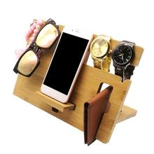 Wooden Mobile Phone Holder Watch Glasses Key Accessories Org