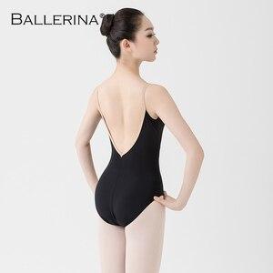 Image 2 - Justaucorps de ballet femmes aerialiste pratique danse Costume V profond fronde noir gymnastique justaucorps Adulto ballerine 5039