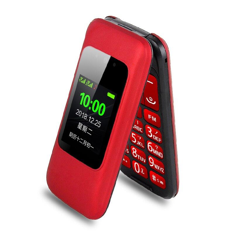 Фото. Откидной многофункциональный мобильный телефон для пожилых людей, двойной дисплей, две sim-карты, бо
