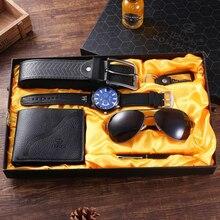 Luxury Watch Men Gifts Set Large Dial Quartz WristWatch Belt