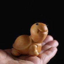 4 cm pequena tartaruga animal boxwood escultura em madeira chá animal de estimação escultura em madeira pequena decoração animal presente woodcut