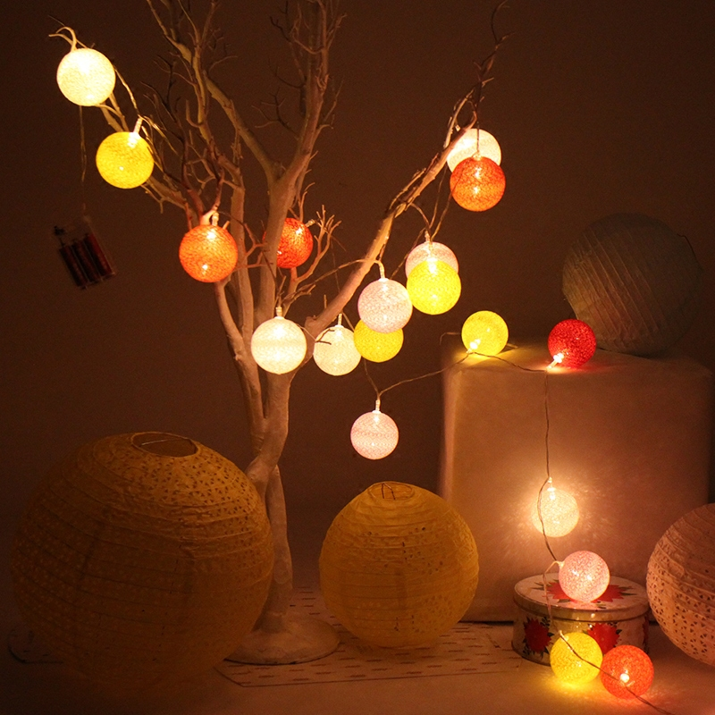 LED String Light Ball 3.3M20LEDs Outdoor Street Garland For Halloween Christmas Corridors Hallways EU Plug Colorful Fairy Lights