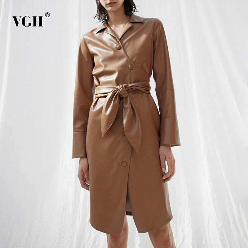VGH PU   Leather   Bowknot Women's Jacket Lapel Collar Long Sleeve High Waist Lace Up Casual Autumn Coat Female 2019 Fashion New