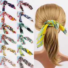 Get more info on the Vintage Hair Band Scrunchies Women Girls Hair Accessories Flower Leaf Print Hair Scarf Elastic Ponytail Holder Rubber Hair Ties