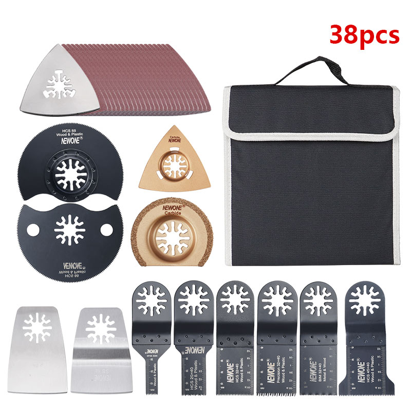 38pcs Oscillating Multi Tool Saw Blades Accessories Packed In Bag Saw Blades Scraper For Multi-tool Fit For Fein, Dremel, DEWALT