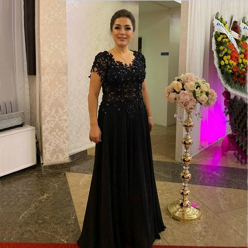 Eightale Evening Dresses Long O-Neck Appliques Lace Short Sleeves Evening Gown Party Gown Dresses Mother Of The Bride Dresses